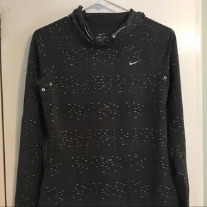 Nike dri-fit running top long sleeve with hood, S